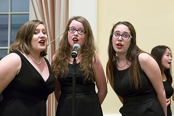 The Radcliffe Pitches serenade the inaugural Harvard Alumni Association's Women's Weekend at Spangler Hall, HBS. Jon Chase/Harvard Staff Photographer