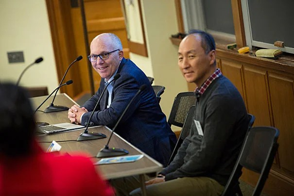 The Ethics of Early Embryo Research and the Future of the 14-Day Rule. A panel discussion takes place in Austin Hall at Harvard Law School. Robert Truog (left) and Insoo Hyun are pictured during the talk. Stephanie Mitchell/Harvard Staff Photographer