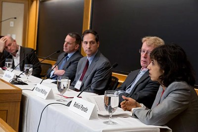 Dan Schrag (from left) moderates a panel with Edward Glaeser, David Bloom, Michael McElroy, and Rohini Pande at a climate conference that yielded some surprising views.