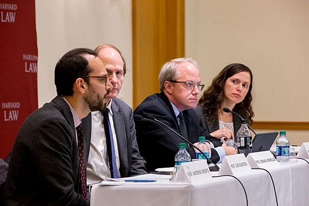 During a panel discussion, Harvard Professor Cass Sunstein (second from left) outlined four major signposts during the first 100 days that will show whether the Trump administration will transform executive authority or not. Joining Sunstein was Criminal Law Professor Andrew Crespo (far left) and Adrian Vermeule, the Ralph S. Tyler Jr. Professor of Constitutional Law. The panel was moderated by Assistant Professor of Law Daphna Renan.