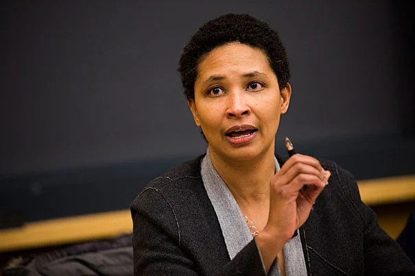 The Department of Government hosts a discussion with members of the faculty titled Trump's America: What's Next? A Post-Election Panel. They meet in the Tsai Auditorium in the CGIS South Building at Harvard University. Danielle Allen (pictured), Jeffry Frieden, Claudine Gay, Jennifer Hochschild, Steven Levitsky, Eric Nelson, and Stephen Rosen participate. Stephanie Mitchell/Harvard Staff Photographer