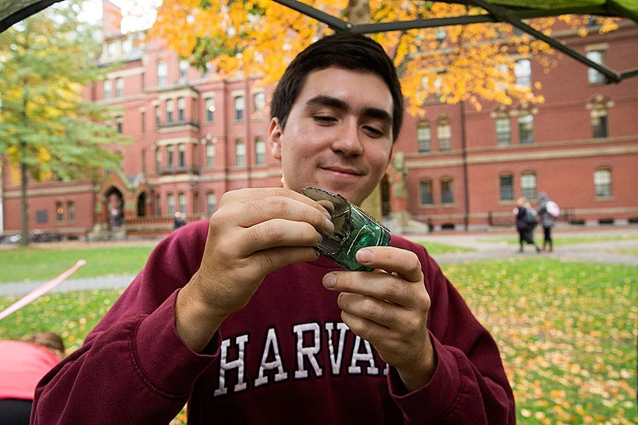 Charles Michael '20 displays an ink bottle from the 1800s unearthed at the site, possibly made by Carter's Ink Co. in Cambridge. Other artifacts include clay tobacco pipes, a lead musket ball, and a piece of flint for a flint-lock firearm.