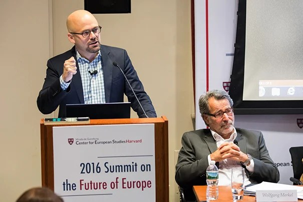 "Daniel Ziblatt (left), professor of government and resident faculty member at CES, spoke on the rise of nationalism in the Western world. ""A well-organized constitutional right is able to contain the far right within its ranks,"" said Ziblatt. Also on the panel was Wolfgang Merkel, director of the Democracy and Democratization Research Unit, Berlin Social Center."