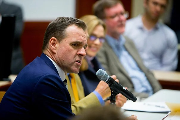 """Historian Niall Ferguson, speaking during """"25 Years After the Collapse of the Soviet Union: What Comes Next?"""", suggested that the cozy relationship between Vladimir Putin and Donald Trump will improve relations between the U.S. and Russia, but that predicting either leader's behavior has been difficult."""