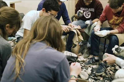 Students taking part in a new freshman seminar class learn to appreciate the sophistication of Neanderthals by manufacturing their own stone tools from scratch.