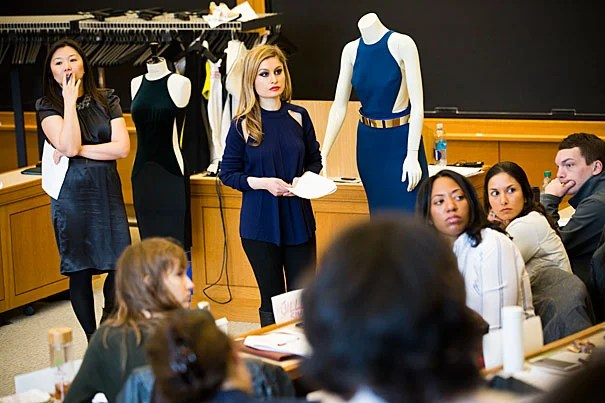 """Jeannie Suk Gersen (left), John H. Watson Jr. Professor for Law, and Nana Sarian, general counsel for Stella McCartney, taught a nine-day course, titled """"Fashion Law Lab,"""" during the winter term."""