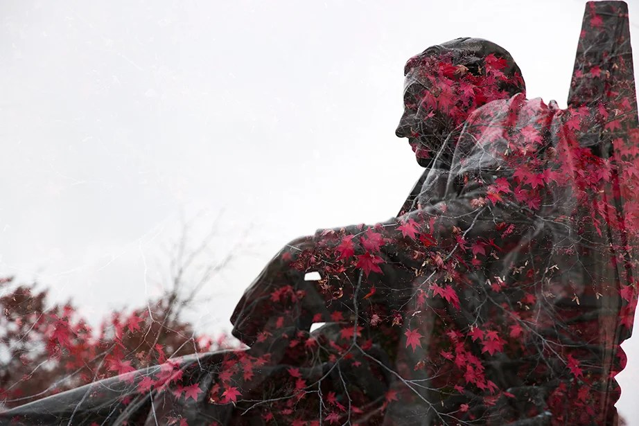 Maple leaves colored in crimson flow through the John Harvard Statue.
