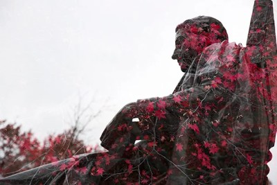 Through double exposure photography, famous landmarks of the University campus take on new and unexpected meaning.