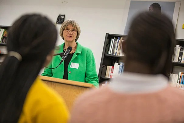 Harvard President Drew Faust speaks to Miami Northwestern High School students about pursuing higher education during her trip to Florida.