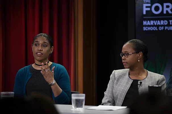 L:R Nneka Leiba, Deputy Director of Research, Environmental Working Group; Tamarra James-Todd, Mark and Catherine Winkler Assistant Professor of Environmental Reproductive and Perinatal Epidemiology, Harvard T.H. Chan School of Public Health