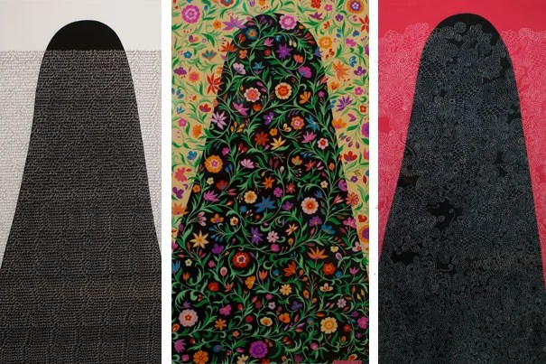"""Arab Spring/Unfinished Journeys"" is a new exhibit by Arab-American artist Helen Zughaib about the democratic uprisings in the Arab world between 2010 and 2013. Pictured is a selection from a series of portraits of a cloaked woman: ""Veiled Secrets,"" 2013, ""Arab Spring,"" 2011, and ""Arab Spring Quilt,"" 2015."