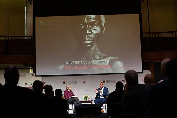 "Harvard President Drew Faust shared the Radcliffe stage with award-winning writer Ta-Nehisi Coates, who delivered the keynote address at the daylong conference, ""Universities and Slavery: Bound by History."""
