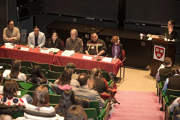 A panel discussed the Dakota Access Pipeline under land owned by the Standing Rock Sioux, explaining their opposition and lessons learned during their protests. Among the panelists: Nick Estes (from left) of the Lower Brule Sioux Tribe (LBST); Chase Iron Eyes of the Lakota/Standing Rock Sioux Tribe; Jace Cuney DeCory of the Lakota/Cheyenne River Sioux Tribe; Jeffrey Ostler, professor at the University of Oregon; Lewis Grass Rope of the LBST; Harvard Professor Lisa McGirr. Speaking is Shelly Lowe, executive director of the Harvard University Native American Program.