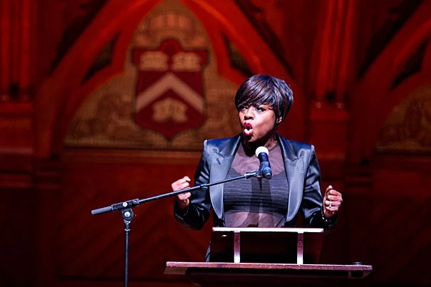 Viola Davis delivers her acceptance speech during the Harvard Foundation's Cultural Rhythms Festival on Saturday. Davis is the first African-American actress to win a Tony, an Emmy, and an Oscar, known as the Triple Crown of Acting, and only the 23rd person to do so since 1953.