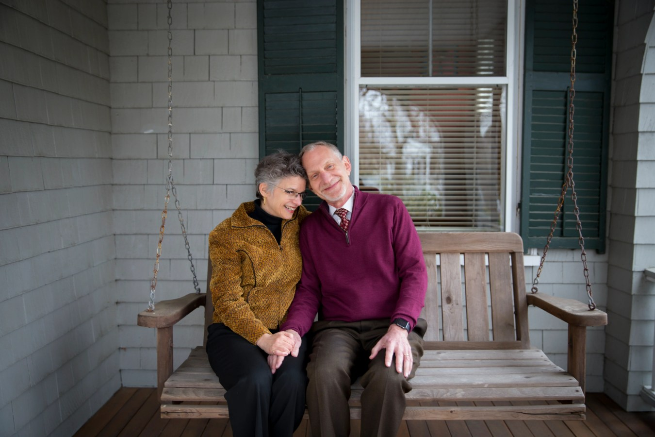 Dr. Robert Waldinger at his West Newton home with wife Jennifer Stone