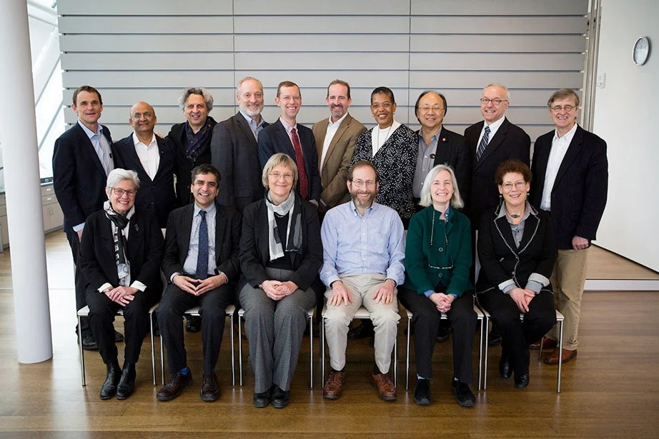 Pictured here at the Harvard Art Museums during a Council of Deans meeting in February 2017 are: James E. Ryan (back row from left), Nitin Nohria, Mohsen Mostafavi, Michael D. Smith, Douglas Elmendorf, Francis J. Doyle III, Michelle A. Williams, Xiao-Li Meng, George Q. Daley, and David N. Hempton; Judith D. Singer (front row from left), Rakesh Khurana, Drew Faust, Alan Garber, Martha Minow, and Lizabeth Cohen. John A. Manning, not pictured, was named dean of Harvard Law School in June 2017. Stephanie Mitchell/Harvard Staff Photographer