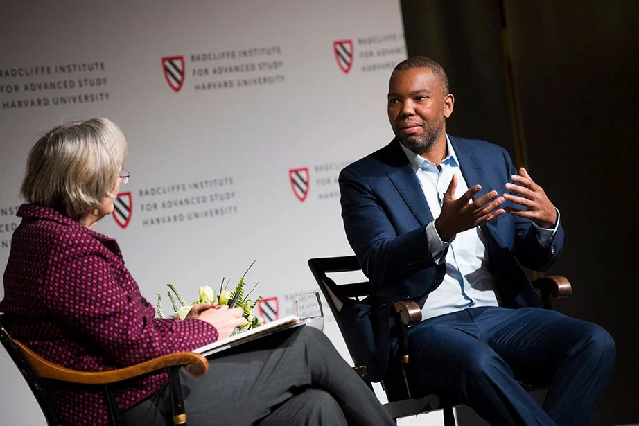"Author and journalist Ta-Nehisi Coates is the keynote speaker at ""Universities and Slavery: Bound by History,"" a daylong conference sponsored by President Faust and hosted by the Radcliffe Institute for Advanced Study. The conference, which took place in March 2017, was part of the University's ongoing efforts to investigate and understand its historical connections to slavery. Stephanie Mitchell/Harvard Staff Photographer"