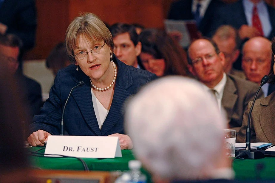 "Calling on Congress to repair the ""broken pipeline"" through which breakthroughs in the biomedical sciences should flow, President Faust testifies before members of the Senate Committee on Health, Education, Labor and Pensions, including Sen. Edward M. Kennedy (foreground), in March 2008. Faust has been a strong advocate for policies and funding that support science and research, arts and humanities, and immigration legislation like the DREAM Act. Jon Chase/Harvard Staff Photographer"