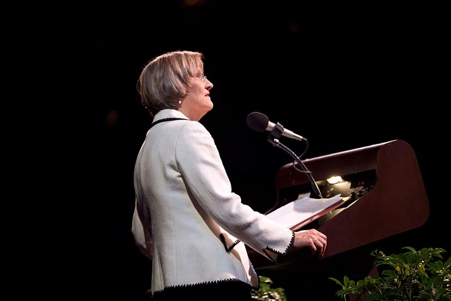 "President Faust, a renowned author and historian of the Civil War and American South, delivers the Jefferson Lecture in the Humanities at the Kennedy Center in May 2011, speaking about the legacy of war. Faust is a vocal supporter of the humanities, writing in The New York Times in 2017 that the National Endowment for the Humanities ""helps Americans explore and better understand how we came to be the nation, people and world we are. It challenges us to reflect on our identities as citizens and as human beings, to ask profound questions about origins, legacies and meaning, to contemplate where we are going as individuals and as a society and why."" Kris Snibbe/Harvard Staff Photographer"