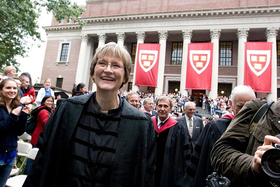 "Drew Faust is installed as Harvard University president at Tercentenary Theatre in Harvard Yard in October 2007. At the ceremony, she spoke about the community's ""unwavering belief in the purposes and potential of this University and in all it can do to shape how the world will look another half century from now."" Rose Lincoln/Harvard Staff Photographer"