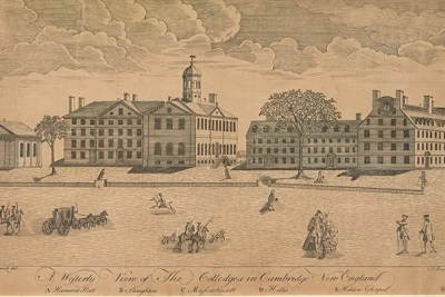 "Harvard Art Museums' new exhibit ""The Philosophy Chamber"" is a recreation of the eponymous room located in Harvard Hall between 1766 and 1820.  Paul Revere's engraving ""A Westerly View of the Colledges in Cambridge, New England"" (c. 1767) depicts Harvard in the late Colonial Era. Harvard Hall is the large building with the cupola."