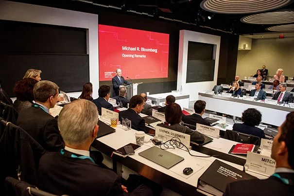 Former New York City Mayor Michael Bloomberg addresses the 40 mayors from the U.S. and abroad who gathered in New York City for the inaugural session of the Bloomberg Harvard City Leadership Initiative.