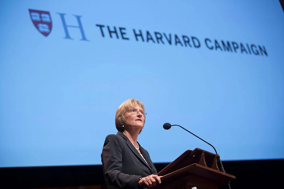 Harvard President Drew Faust speaks during The Harvard Campaign launch inside Sanders Theatre.