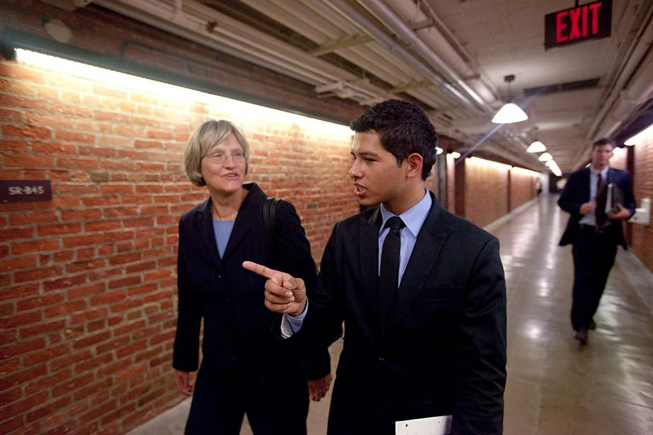 Harvard President Drew Faust and Eric Balderas discuss the DREAM Act inside the U.S. Capitol.