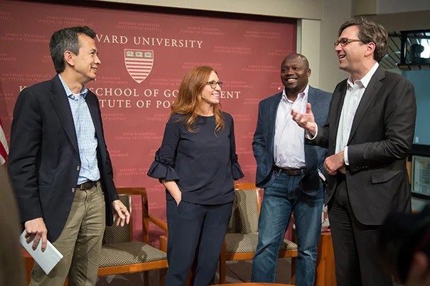 """Moderator Greg Ip (from left) chats with panelists Francesca Rossi, Wilson White, and Jason Furman following """"Will You Still Have a Job When the Robots Arrive?"""" The answer? Yes, but probably not the one you have now."""