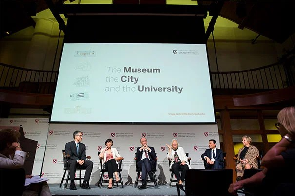 Moderator Yukio Lippit (from left) and the panel's five museum directors included Peggy Fogelman, Isabella Stewart Gardner Museum; Matthew Teitelbaum, Museum of Fine Arts, Boston; Martha Tedeschi, Harvard Art Museums; Paul Ha, MIT List Visual Arts Center; and Jill Medvedow, The Institute of Contemporary Art/Boston. Stephanie Mitchell/Harvard Staff Photographer