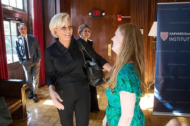 "MSNBC ""Morning Joe"" co-host Mika Brzezinski, visiting fall fellow at IOP, speaks with student Emily Hall '18"