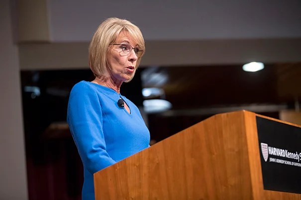 U.S. Secretary of Education Betsy DeVos speaks on the topic of school choice at a JFK Jr. Forum.
