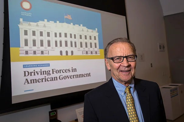"At the Ed Portal public lecture ""Driving Forces in American Government,"" Kennedy School Professor Tom Patterson urged his audience to talk about politics and combat misinformation."