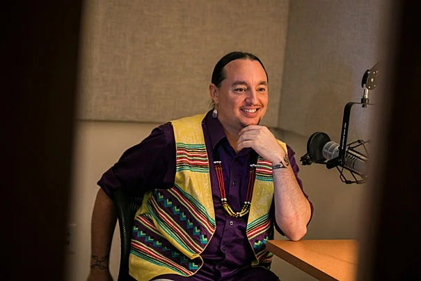 "Marcus Briggs-Cloud, M.T.S. '10, speaks to the Gazette about his work to preserve the Maskoke language and culture on ""Heard at Harvard."""