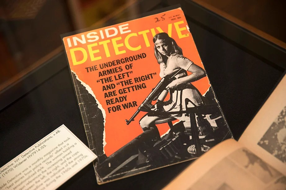 "Inside Detective was a monthly magazine that took the ""best stories from police records"" albeit in a highly sensationalized style. Kris Snibbe/Harvard Staff Photographer"
