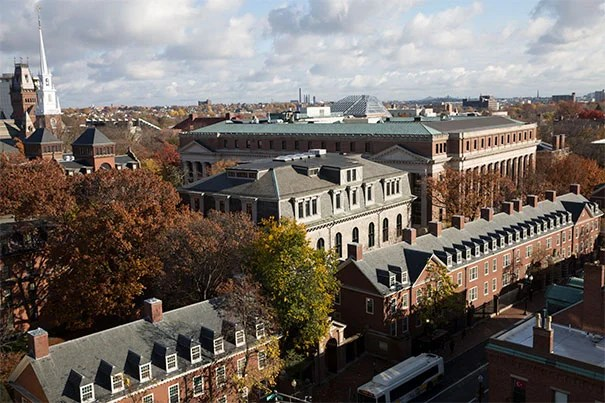 Dramatic view of Harvard University in the fall