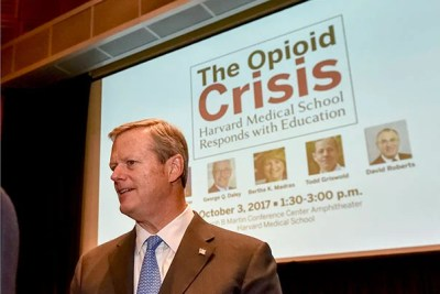 Gov. Charlie Baker joined HMS faculty members in discussing the opioid crisis and the role physician education must play in fighting it.