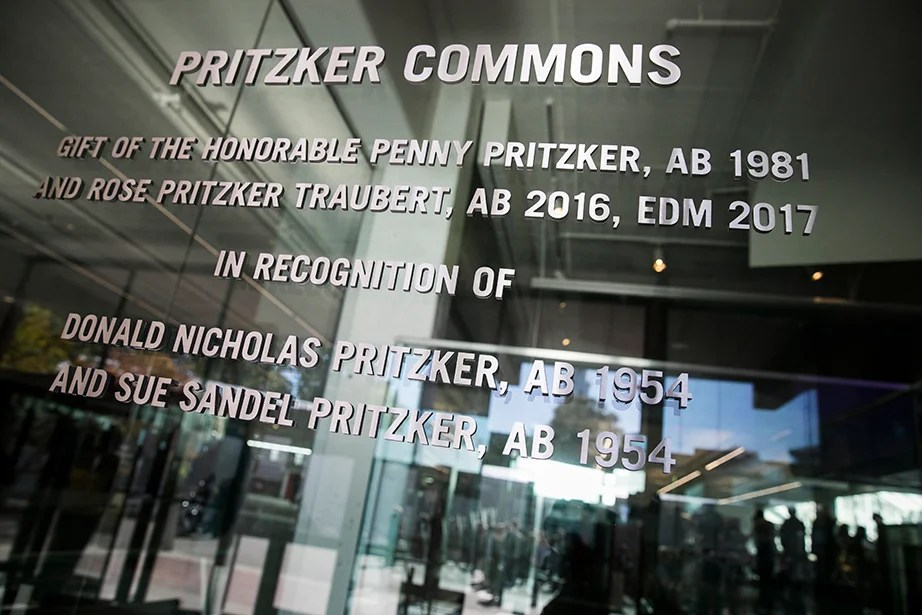 A sign marks the entrance to Pritzker Commons. Stephanie Mitchell/Harvard Staff Photographer