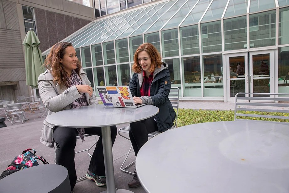 Leilani Doctor HLS '19 (left) and Eleanor Lieberman '19 opt for a table outside on a warm day. Kris Snibbe/Harvard Staff Photographer