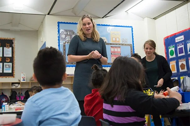 Annie Tomasini talks to students.