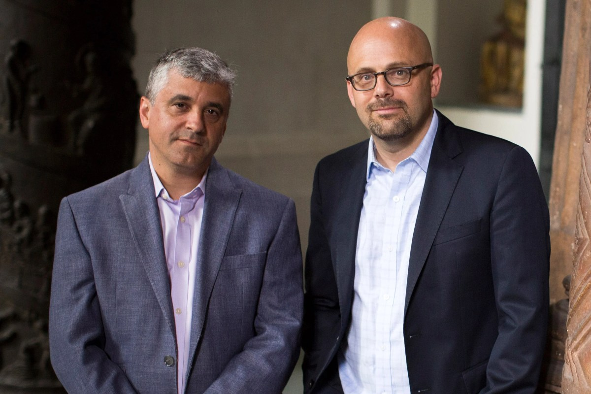 """Steven Levitsky (left) and Daniel Ziblatt, Harvard professors and authors of """"How Democracies Die,""""  believe the polarization in the U.S. over issues involving race, religion, and culture could threaten democracy."""
