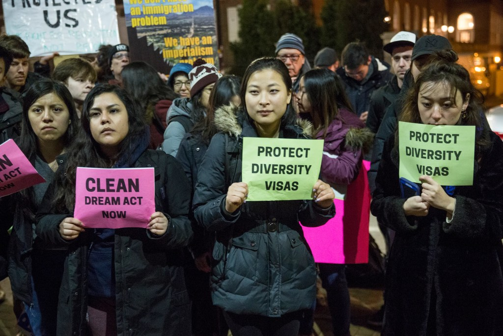 Protesters picketed outside the Kennedy School