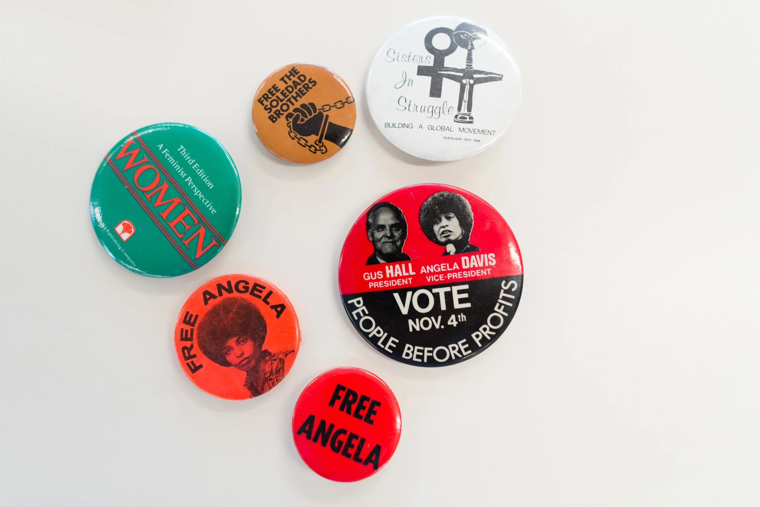 Pins from Angela Davis