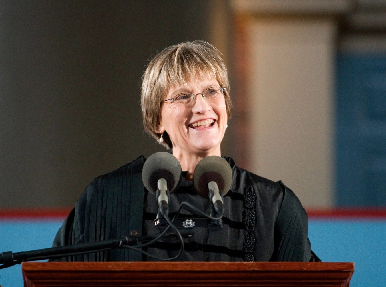 Drew Faust at podium during installation as Harvard president. Faust is installed as Harvard's 28th president in 2007. Jon Chase/Harvard file photo