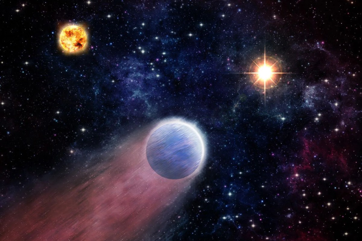 Artist rendering showing planets and black hole