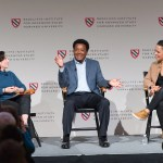At a panel discussion at the Radcliffe Institute, Shira Springer (left), Pedro Martínez, and Rebekah Salwasser discuss the Boston Red Sox's work off the field, including its efforts to support inner city children and to confront racism.