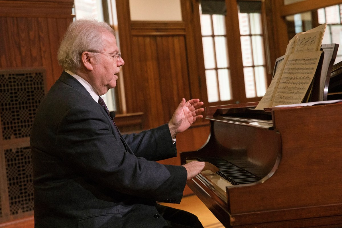 """As nervous as I am about playing the B-flat this week in Boston, I am much more nervous now,"" pianist Emanuel Ax told his audience at the Knafel Center."