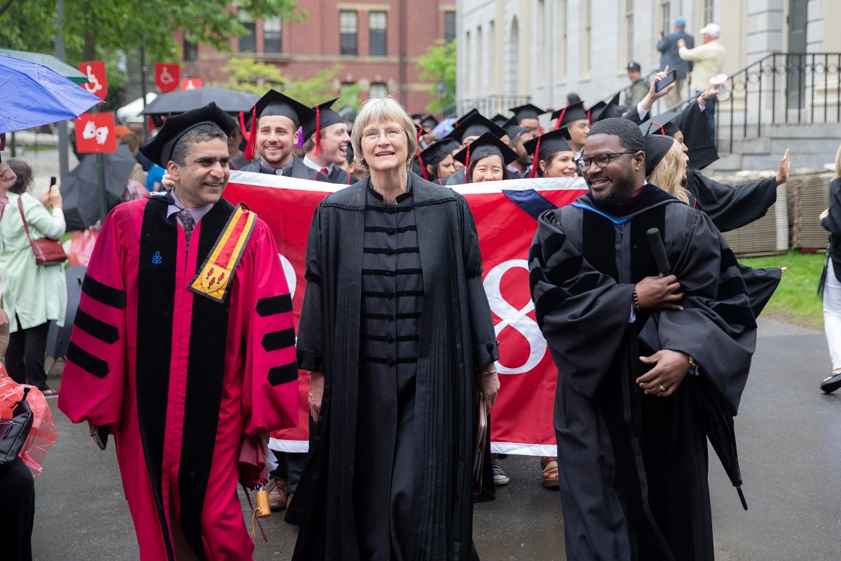 Harvard President Drew Faust leads the procession to Tuesday's baccalaureate service at Memorial Church.