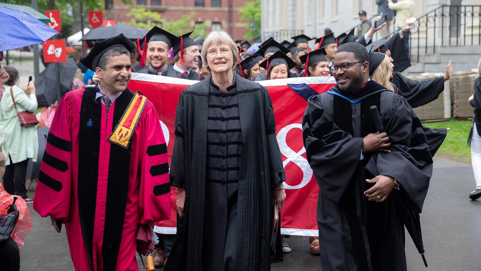 Drew Faust leads baccalaureate procession to Memorial Church.