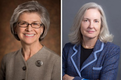 Susan L. Carney '73, J.D. '77 (left), and Gwill E. York '79, M.B.A. '84, will assume the roles of president and vice chair, respectively, of Harvard University's Board of Overseers for the 2018‒19 academic year.